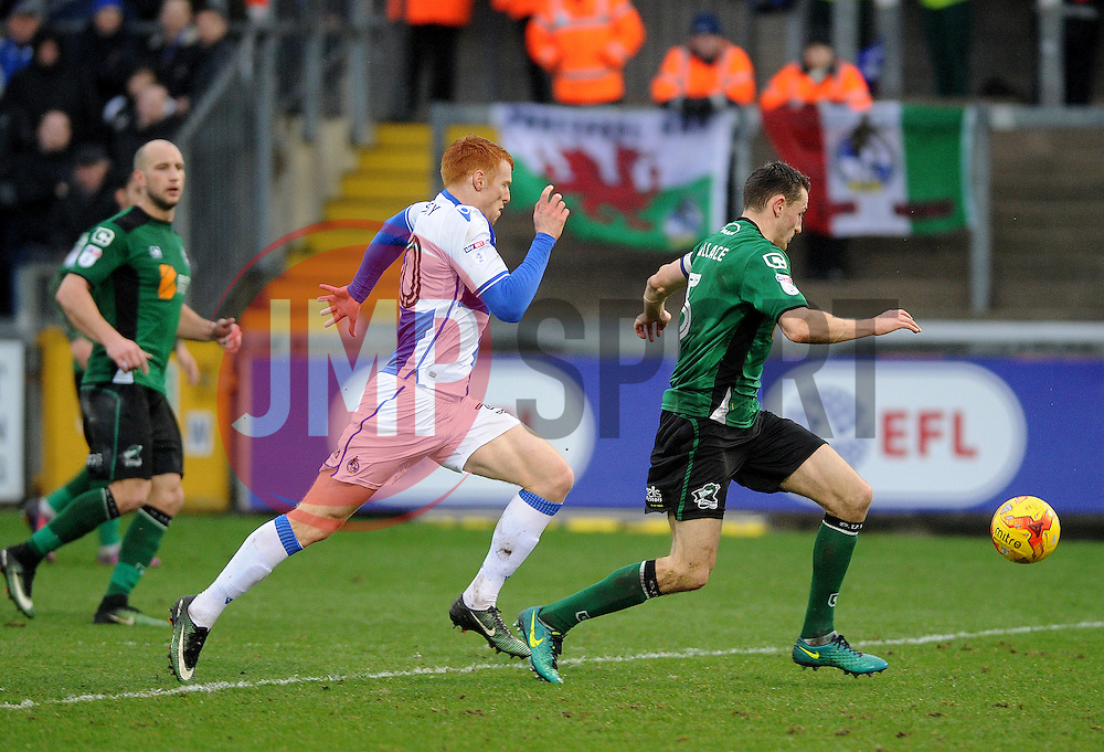 Rory Gaffney of Bristol Rovers challenges Murray Wallace of Scunthorpe United - Mandatory by-line: Neil Brookman/JMP - 25/02/2017 - FOOTBALL - Memorial Stadium - Bristol, England - Bristol Rovers v Scunthorpe United - Sky Bet League One