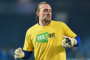 """Birmingham City goalkeeper Lee Camp (1) warms up wearing a """"Kick it out"""" T-Shirt during the EFL Sky Bet Championship match between West Bromwich Albion and Birmingham City at The Hawthorns, West Bromwich, England on 29 March 2019."""