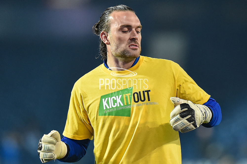 "Birmingham City goalkeeper Lee Camp (1) warms up wearing a ""Kick it out"" T-Shirt during the EFL Sky Bet Championship match between West Bromwich Albion and Birmingham City at The Hawthorns, West Bromwich, England on 29 March 2019."