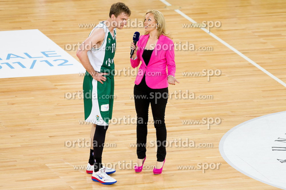 Zoran Dragic of Krka and Sanja Modric during basketball match between KK Union Olimpija and KK Krka in 2nd Final match of Telemach Slovenian Champion League 2011/12, on May 20, 2012 in Arena Stozice, Ljubljana, Slovenia. Krka defeated Union Olimpija 75-65. (Photo by Vid Ponikvar / Sportida.com)