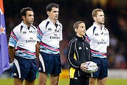 The ball boy looks overjoyed during the national anthems - Mandatory byline: Rogan Thomson/JMP - 07966 386802 - 02/10/2015 - RUGBY UNION - Millennium Stadium - Cardiff, Wales - New Zealand v Georgia - Rugby World Cup 2015 Pool C.