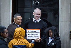 "© Licensed to London News Pictures. 29/11/2016. London, UK. The family of British man Andargachew ""Andy"" Tsege, who is in his sixties, bring a petition to Downing Street calling on the Prime Minister to seek his release, whilst he is in prison in Ethiopia under the shadow of a death sentence. Andargachew Tsegehas been detained in the country since he was removed from an airport in Yemen in June 2014. The father-of-three, who fled the country in the 1970s and sought asylum in the UK in 1979, had been a prominent critic of Ethiopia's ruling party. Photo credit : Tom Nicholson/LNP"
