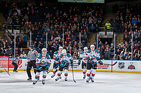 KELOWNA, CANADA - FEBRUARY 24: Dillon Dube #19 Carsen Twarynski #18, Kole Lind #16, Cal Foote #25 and Kaedan Korczak #6 of the Kelowna Rockets skate to the bench to celebrate a first period goal against the Kamloops Blazers  on February 24, 2018 at Prospera Place in Kelowna, British Columbia, Canada.  (Photo by Marissa Baecker/Shoot the Breeze)  *** Local Caption ***