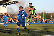 AFC Wimbledon defender Jon Meades (3) during the The FA Cup match between Curzon Ashton and AFC Wimbledon at Tameside Stadium, Ashton Under Lyne, United Kingdom on 4 December 2016. Photo by Stuart Butcher.