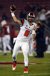 PALO ALTO, CA - NOVEMBER 10:  Quarterback Jake Luton #6 of the Oregon State Beavers warms up before the game against the Stanford Cardinal at Stanford Stadium on November 10, 2018 in Palo Alto, California. (Photo by Jason O. Watson/Getty Images) *** Local Caption *** Jake Luton