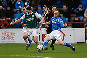 St Johnstones Steven Anderson putting in a vital tackle during the Scottish League Cup semi-final match between Hibernian and St Johnstone at Tynecastle Stadium, Gorgie, Scotland on 30 January 2016. Photo by Craig McAllister.