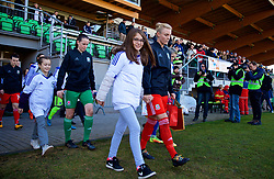 ZENICA, BOSNIA AND HERZEGOVINA - Tuesday, November 28, 2017: Wales' captain Sophie Ingle leads her side out before the FIFA Women's World Cup 2019 Qualifying Round Group 1 match between Bosnia and Herzegovina and Wales at the FF BH Football Training Centre. (Pic by David Rawcliffe/Propaganda)