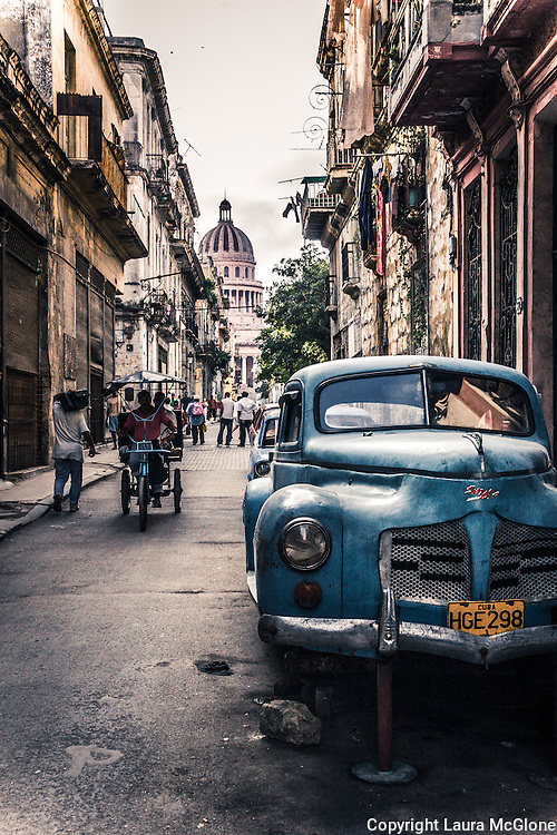 Havana Cuba, Street Scene with Antique Car & Capitolio