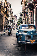Havana Cuba, Street Scene with Antique Car & Capitolio