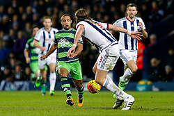 Wayne Routledge of Swansea City is challenged by Jonas Olsson of West Bromwich Albion - Mandatory byline: Rogan Thomson/JMP - 02/02/2016 - FOOTBALL - The Hawthornes - West Bromwich, England - West Bromwich Albion v Swansea City - Barclays Premier League.