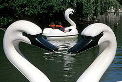 white swan self powered boats for visitors to Philadelphia Zoo