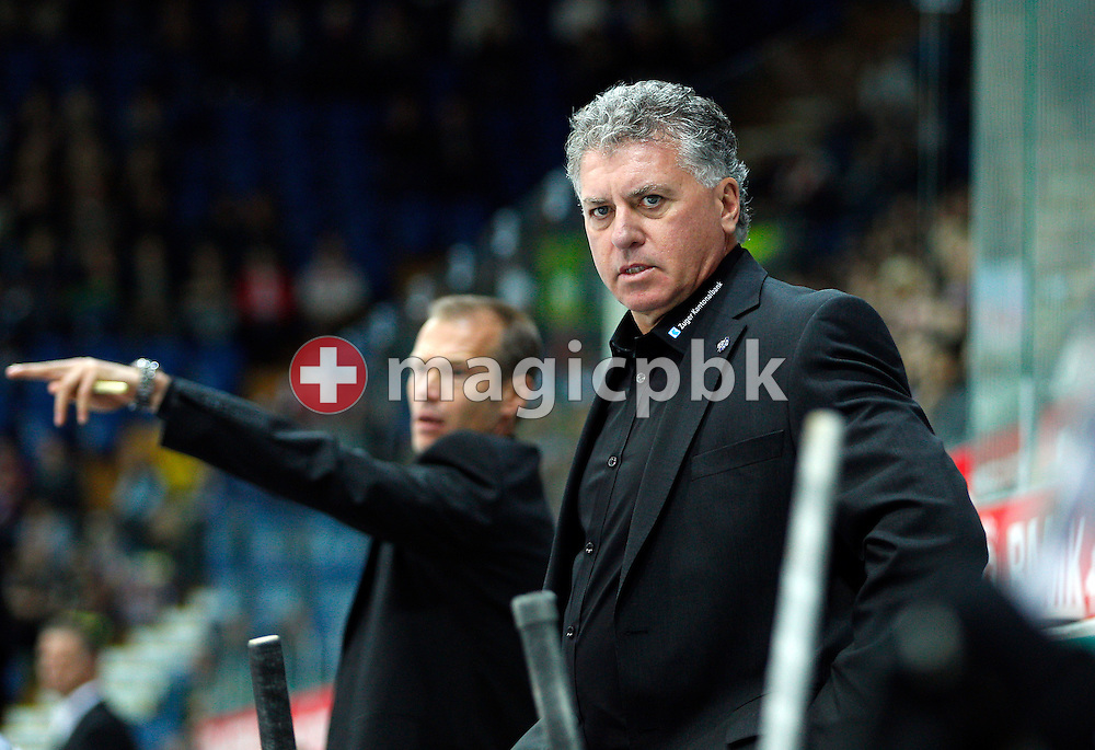 EV Zug head coach Douglas (Doug) Shedden (R) and his assistant Waltteri Immonen are pictured during ice hockey game of the Swiss National League A (Season 2011-2012) between Kloten Flyers and EV aug (EVZ) held at the Kolping Arena in Kloten, Switzerland, Friday, Sept. 30, 2011. (Photo by Patrick B. Kraemer / MAGICPBK)