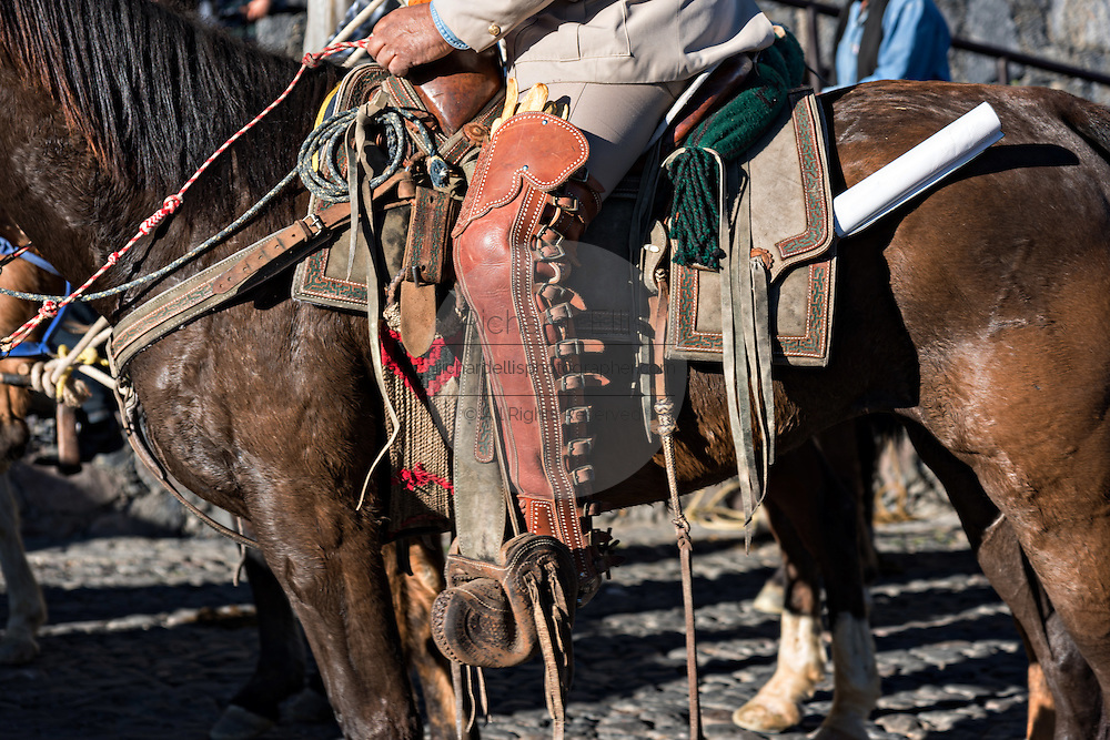 Leather chaps on a Mexican cowboy during the annual Cabalgata de Cristo Rey pilgrimage January 6, 2017 in Guanajuato, Mexico. Thousands of Mexican cowboys take part in the three-day ride to the mountaintop shrine of Cristo Rey.
