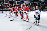 KELOWNA, CANADA, OCTOBER 20: Myles Bell #29, Spencer Main #16, Filip Vasko #10, Cody Chikie #14, Mackenzie Johnston #22 and Adam Brown #1 of the Kelowna Rockets make the starting lineup as  the Vancouver Giants visited the Kelowna Rockets on October 20, 2011 at Prospera Place in Kelowna, British Columbia, Canada (Photo by Marissa Baecker/shootthebreeze.ca) *** Local Caption *** Myles Bell; Spencer Main; Filip Vasko; Cody Chikie; Mackenzie Johnston; Adam Brown;
