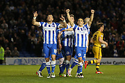 Brighton striker, Tomer Hemed (10) celebrates his first goal during the Sky Bet Championship match between Brighton and Hove Albion and Fulham at the American Express Community Stadium, Brighton and Hove, England on 15 April 2016. Photo by Phil Duncan.