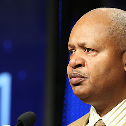 Feb 05, 2010;  Fort Lauderdale, FL, USA; Indianapolis Colts head coach Jim Caldwell speaks during a press conference at the Super Bowl XLIV media center at the Fort Lauderdale/Broward County Convention Center. Mandatory Credit: Derick E. Hingle