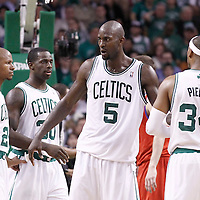 21 May 2012: Boston Celtics shooting guard Ray Allen (20), Boston Celtics power forward Brandon Bass (30), Boston Celtics power forward Kevin Garnett (5) and Boston Celtics small forward Paul Pierce (34) are seen during the Boston Celtics 101-85 victory over the Philadelphia Sixer, in Game 5 of the Eastern Conference semifinals playoff series, at the TD Banknorth Garden, Boston, Massachusetts, USA.
