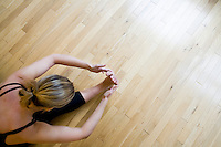 26 November, 2008. New York, NY. Chrissy Carter, 30, practices some yoga pose at the Yogaworks in Manhattan, NY, where she is a yoga instructor. She's a former college dancer and Wall Steret equity sales trader. She quit her job after falling in love with yoga. She started teaching 6 years ago and started teaching full-time 4 years ago. She now also certifies yoga teachers.<br /> <br /> ©2008 Gianni Cipriano for The New York Times<br /> cell. +1 646 465 2168 (USA)<br /> cell. +1 328 567 7923 (Italy)<br /> gianni@giannicipriano.com<br /> www.giannicipriano.com
