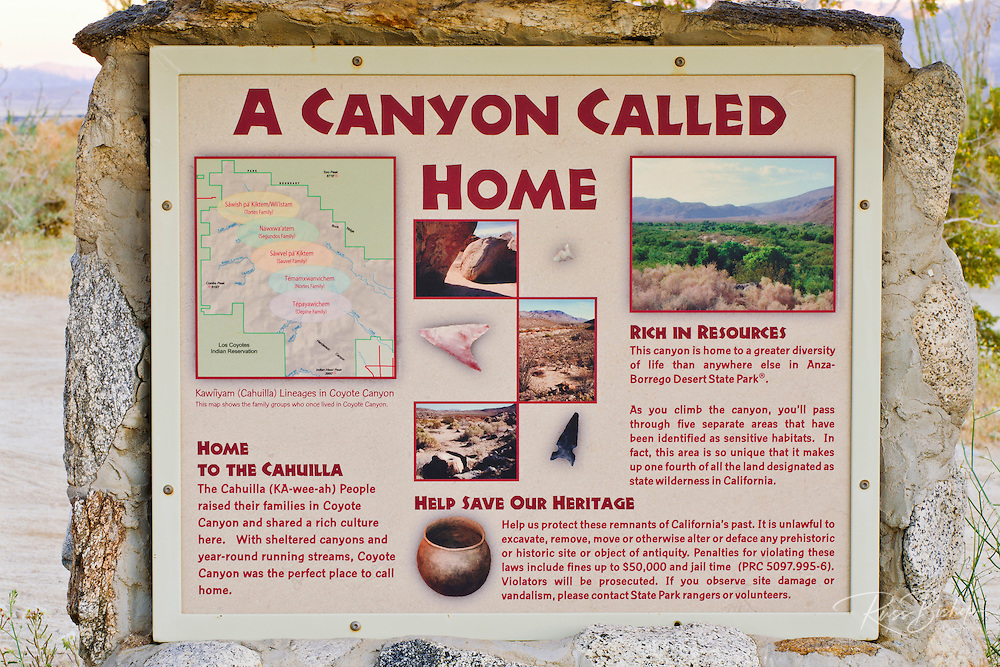 Interpretive sign in Coyote Canyon, Anza-Borrego Desert State Park, California USA