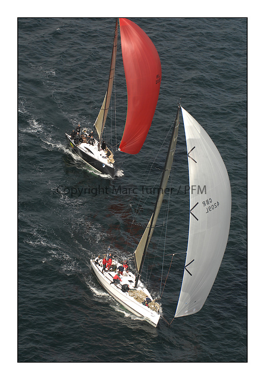 Sailing - The 2007 Bell Lawrie Scottish Series hosted by the Clyde Cruising Club, Tarbert, Loch Fyne..Brilliant first days conditions for racing across the three fleets...IRC Class 1  Uxorious GBR4209L being followed by IRL2007 Jump Juice.