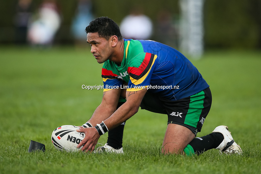 Wai-Coa-Bay Stallions halfback Hayden Karena lines up a shot a goal during the NZRL Premiership rugby league match - Wai-Coa-Bay Stallions v Akarana Falcons at Resthills Park, Hamilton on Saturday 19 September 2015. <br /> <br /> Copyright Photo:  Bruce Lim / www.photosport.nz
