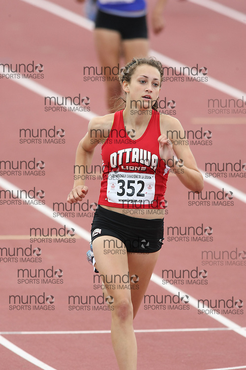 (Sherbrooke, Quebec---10 August 2008) Samantha Murphy competing in the 400m at the 2008 Canadian National Youth and Royal Canadian Legion Track and Field Championships in Sherbrooke, Quebec. The photograph is copyright Sean Burges/Mundo Sport Images, 2008. More information can be found at www.msievents.com.