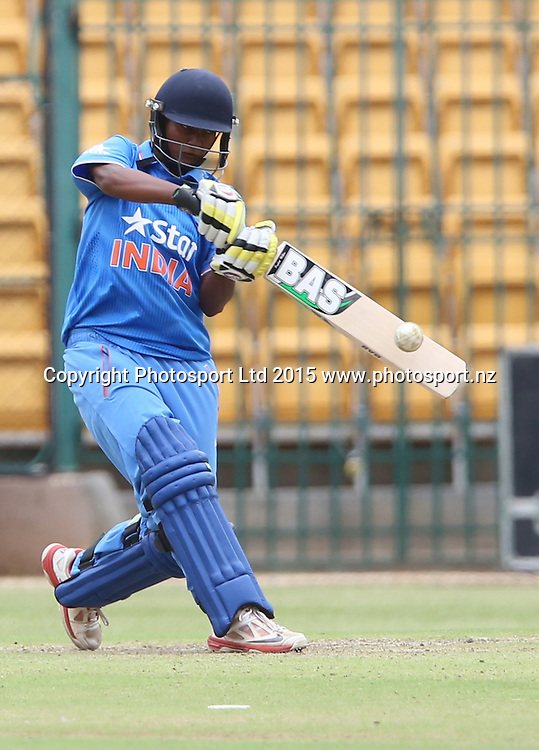 Deepti Sharma of India in action during the 3nd ODI match against New Zealand at Chinnaswamy Stadium in Bangalore