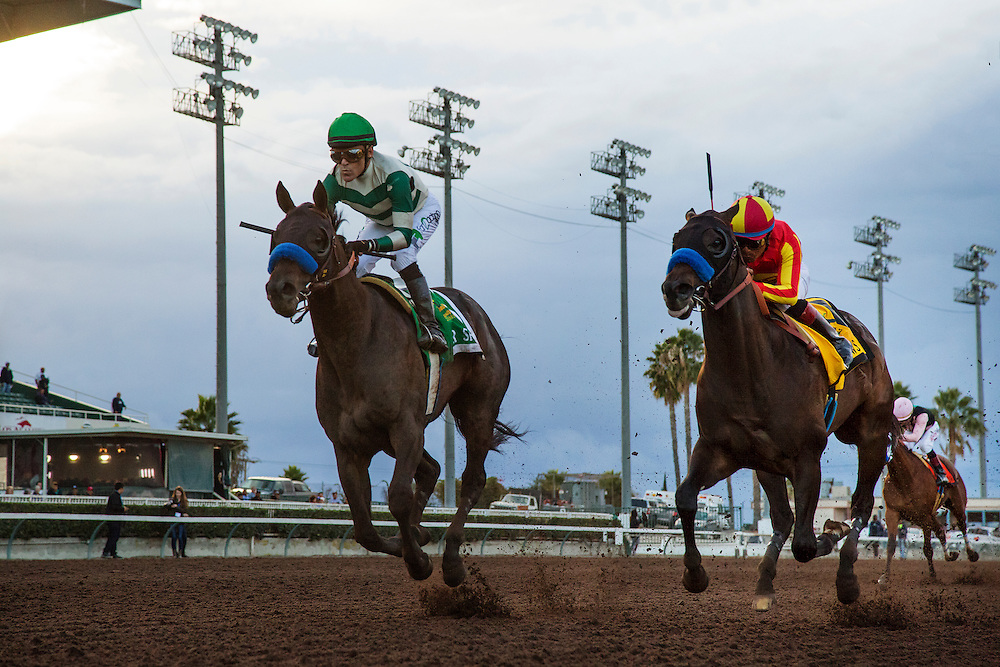 December 19, 2015:  Mor Spirit with jockey, Gary Stevens up defeats Toews on Ice and Martin Garcia to win the Futurity at Los Alamitos Race Track in Cypress California. Evers/ESW/CSM