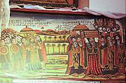 Africa, Ethiopia, Lalibela, Interior of Rock Hewn church of Bete Maryam. Religious art on display
