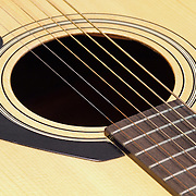 An acoustic guitar closeup