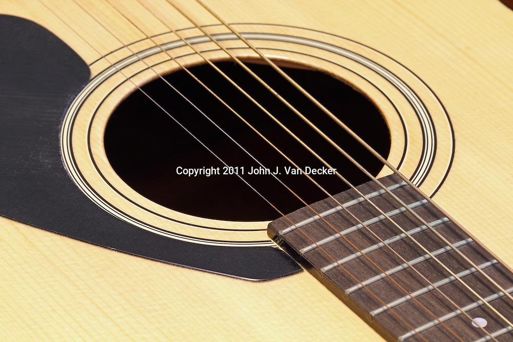 An acoustic guitar closeup