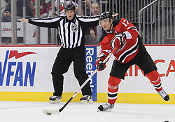 Mar 8; Newark, NJ, USA; New Jersey Devils left wing Ilya Kovalchuk (17) makes a pass during the second period of their game against the New York Islanders at the Prudential Center.