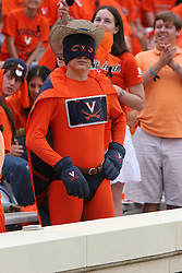 Super Hoo, a UVA student attends a college football game against Duke.  The Virginia Cavaliers defeated the Duke University Blue Devils 38-7 on September 24, 2005 at Scott Stadium in Charlottesville, VA.