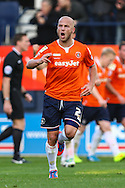 Luke Guttridge  of Luton Town celebrates scoring the opening goal against Northampton Town during the Sky Bet League 2 match at Kenilworth Road, Luton<br /> Picture by David Horn/Focus Images Ltd +44 7545 970036<br /> 25/10/2014