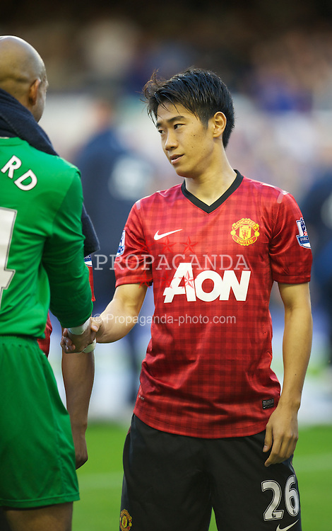 LIVERPOOL, ENGLAND - Monday, August 20, 2012: Manchester United's Shinji Kagawa before the Premiership match against Everton at Goodison Park. (Pic by David Rawcliffe/Propaganda)