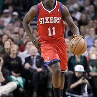 14 May 2012: Philadelphia Sixers point guard Jrue Holiday (11) brings the ball upcourt during the Philadelphia Sixers 82-81 victory over the Boston Celtics, in Game 2 of the Eastern Conference semifinals playoff series, at the TD Banknorth Garden, Boston, Massachusetts, USA.