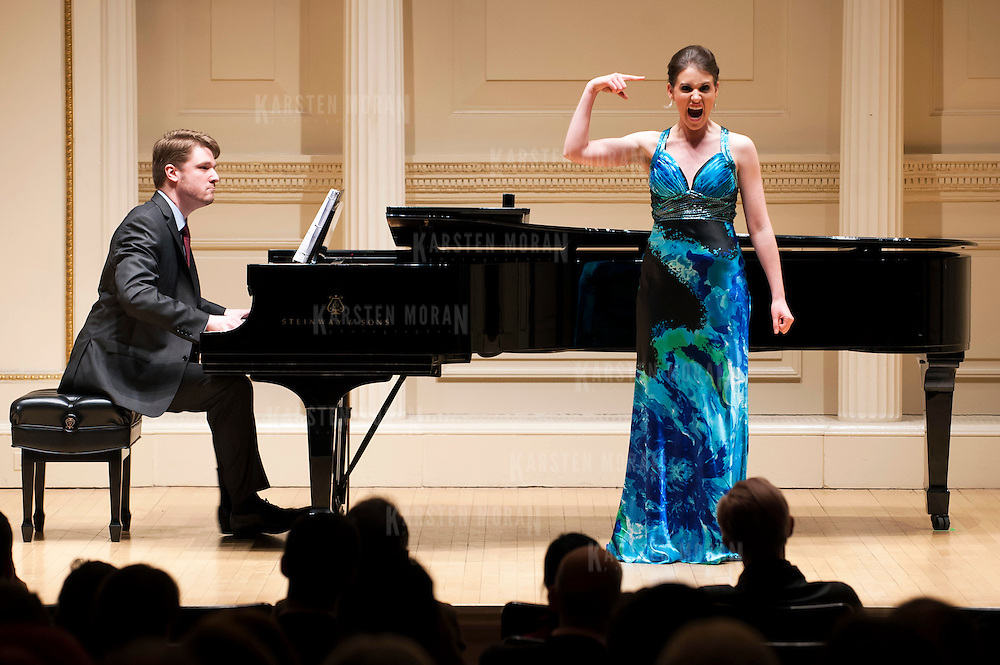 "March 12, 2013 - New York, NY : Mezzo-Soprano Naomi O'Connell, in blue, along with pianist Brent Funderburk perform ""Witches, Bitches & Women in Britches"" at Carnegie Hall's Weill Recital Hall on Tuesday evening. CREDIT: Karsten Moran for The New York Times"