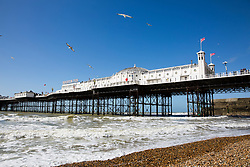 © Licensed to London News Pictures. 01/04/2017. Brighton, UK. The Brighton Palace Pier basks in sunshine as sunny and warm weather is hitting the seaside resort. Photo credit: Hugo Michiels/LNP