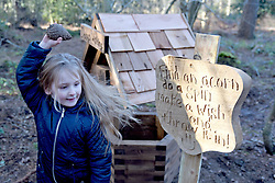 © Licensed to London News Pictures. 30/01/2016. Slough, UK. Hayleigh Lewis, 6, at the formal opening of a wooden treehouse in memory of murder victim Alice Adams in Black Park, Wexham on Saturday 30th January. The 20-year-old was stabbed to death in August 2011 with her friend and co-worker Tibor Vass, at a staff flat behind the Radisson Edwardian Hotel near Heathrow Airport. The murderer was Attila Ban, aged 32,  who also worked at the hotel as a receptionist. After the death of Alice, her family created a charity called, Alice Adams Foundation, to raise money to build the treehouse. Photo credit should read: Emma Sheppard/LNP