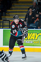 KELOWNA, CANADA - NOVEMBER 9: Myles Bell #29 of the Kelowna Rockets takes a shot on the net of the Edmonton OIl Kings on November 9, 2013 at Prospera Place in Kelowna, British Columbia, Canada.   (Photo by Marissa Baecker/Shoot the Breeze)  ***  Local Caption  ***