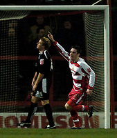 Photo: Jed Wee.<br />Doncaster Rovers v Swansea City. Coca Cola League 1.<br />17/12/2005.<br />Doncaster's Paul Hefferman (R) celebrates the winning goal.