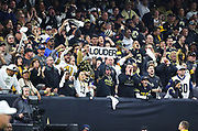 Jan 20, 2019; New Orleans, LA, USA; New Orleans Saints fans cheer as loud as they can while playing against the Los Angeles Rams during the NFC Championship at Mercedes-Benz Superdome. The Rams beat the Saints in overtime 26-23 and head to Super Bowl 53 in Atlanta. (Steve Jacobson/Image of Sport)