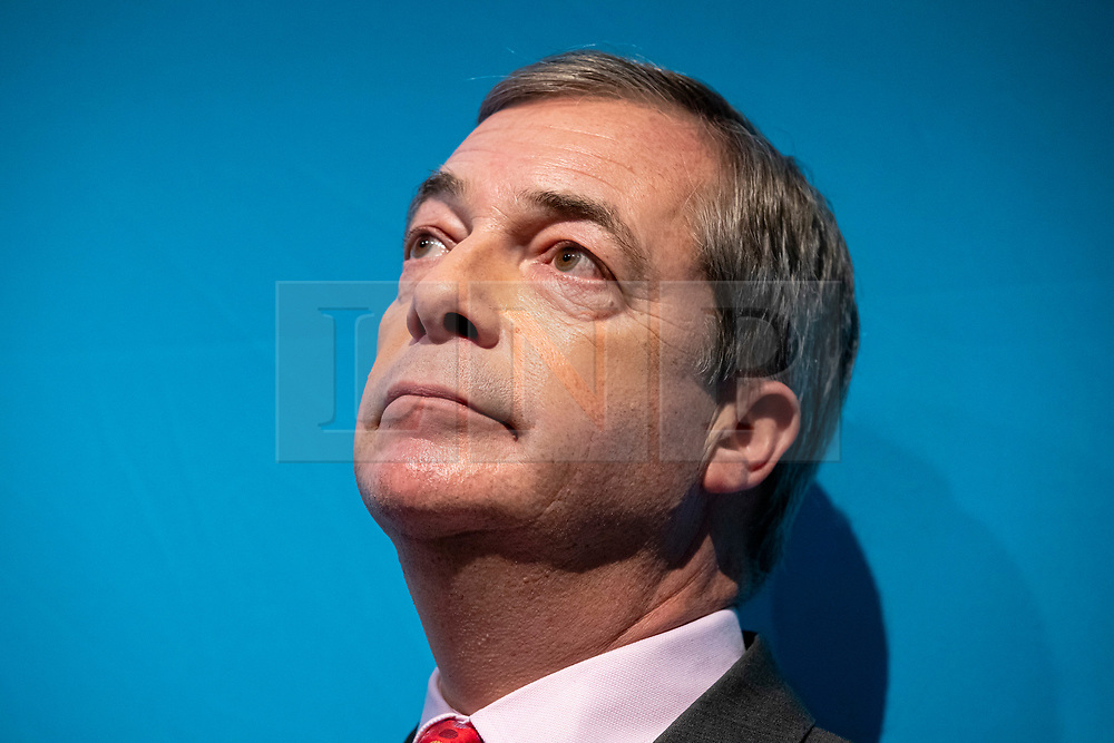 © Licensed to London News Pictures. 22/11/2019. London, UK. Nigel Farage announces the policies of The Brexit Party at a press event in Westminster. The Brexit Party is contesting a number of seats in the forthcoming general election. Photo credit: Rob Pinney/LNP