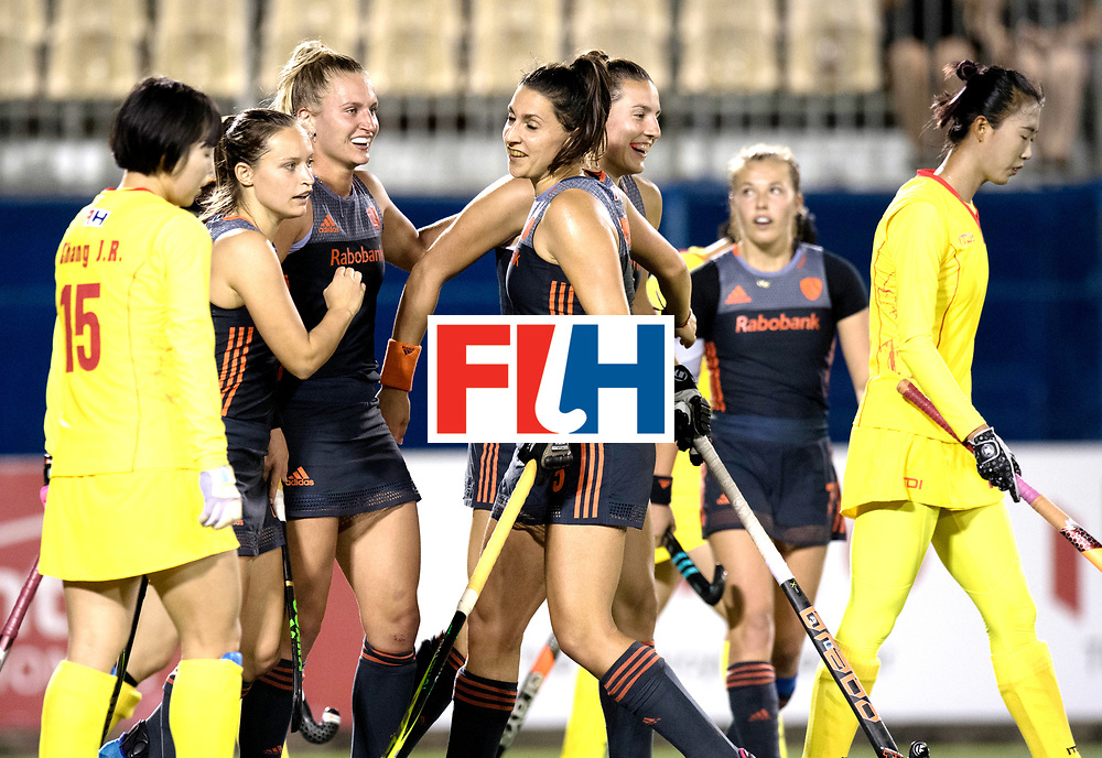AUCKLAND - Sentinel Hockey World League final women<br /> Match id: 10305<br /> 16 NED v CHina (QF)<br /> Foto: Kelly Jonker, Laura Nunnink Malou Pheninckx and Frederique Matla celebrating the goal off Malou Pheninckx <br /> WORLDSPORTPICS COPYRIGHT FRANK UIJLENBROEK