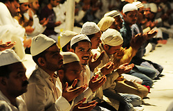 May 27, 2017 - Allahabad, Uttar Pradesh, India - Muslims offer prayer called ''Tarawih'' to mark the beginning of Ramadan month in Allahabad, Ramazan, Ramadhan, or Ramazan is the ninth month of the Islamic calendar, and is observed by Muslims worldwide as a month of fasting (Sawm) to commemorate the first revelation of the Quran to Muhammad according to Islamic belief. This annual observance is regarded as one of the Five Pillars of Islam. The month lasts 29–30 days based on the visual sightings of the crescent moon, according to numerous biographical accounts compiled in the hadiths. (Credit Image: © Prabhat Kumar Verma/Pacific Press via ZUMA Wire)