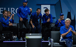 September 23, 2017 - Prague, Czech Republic - Team Europe players box during the second day at Laver Cup on Sept 23, 2017 in Prague, Czech Republic.  The Laver Cup consists of six European players competing against their counterparts from the rest of the World. Europe will be captained by Bjorn Borg and John McEnroe will captain the Rest of the World team. The first Laver Cup held in Europe, at the O2 arena Prague from September 22-24, 2017. (Credit Image: © Robert Szaniszlo/NurPhoto via ZUMA Press)