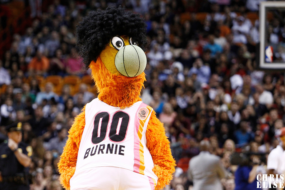 21 January 2012: Miami Heat mascott Burnie performs during the Miami Heat 113-92 victory over the Philadelphia Sixers at the AmericanAirlines Arena, Miami, Florida, USA.