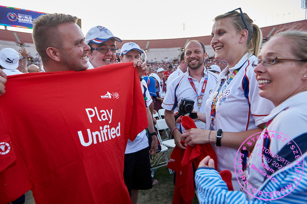 SO Great Britain Closing Ceremony of the Special Olympics World Games Los Angeles 2015 at the Los Angeles Coliseum Stadium on ninth day, August 2, 2015 in Los Angeles, USA.<br /> <br /> USA, Los Angeles, August 2, 2015<br /> <br /> Picture also available in RAW (NEF) or TIFF format on special request.<br /> <br /> For editorial use only. Any commercial or promotional use requires permission.<br /> <br /> Adam Nurkiewicz declares that he has no rights to the image of people at the photographs of his authorship.<br /> <br /> Mandatory credit:<br /> Photo by &copy; Adam Nurkiewicz / Mediasport