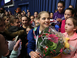 © Licensed to London News Pictures. 27/01/2017. Ostrava, CZ. Michaela-Lucie HANZLIKOVA, from Czech Republic, signs autographs to young fans after her performance at the Ladies Free Skating during the ISU European Figure Skating Championships in the Ostrava Arena in Ostrava, Czech Republic, on Friday January 27, 2017. Photo credit: Isabel Infantes/LNP