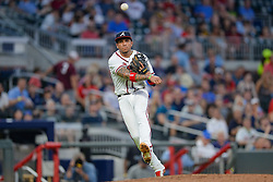 May 31, 2018 - Atlanta, GA, U.S. - ATLANTA, GA Ð MAY 31:  Atlanta's Johan Camargo (17) makes a jump throw to first base during the game between Atlanta and Washington on May 31st, 2018 at SunTrust Park in Atlanta, GA.  The Atlanta Braves beat the Washington Nationals by a score of 4 - 2.  (Photo by Rich von Biberstein/Icon Sportswire) (Credit Image: © Rich Von Biberstein/Icon SMI via ZUMA Press)
